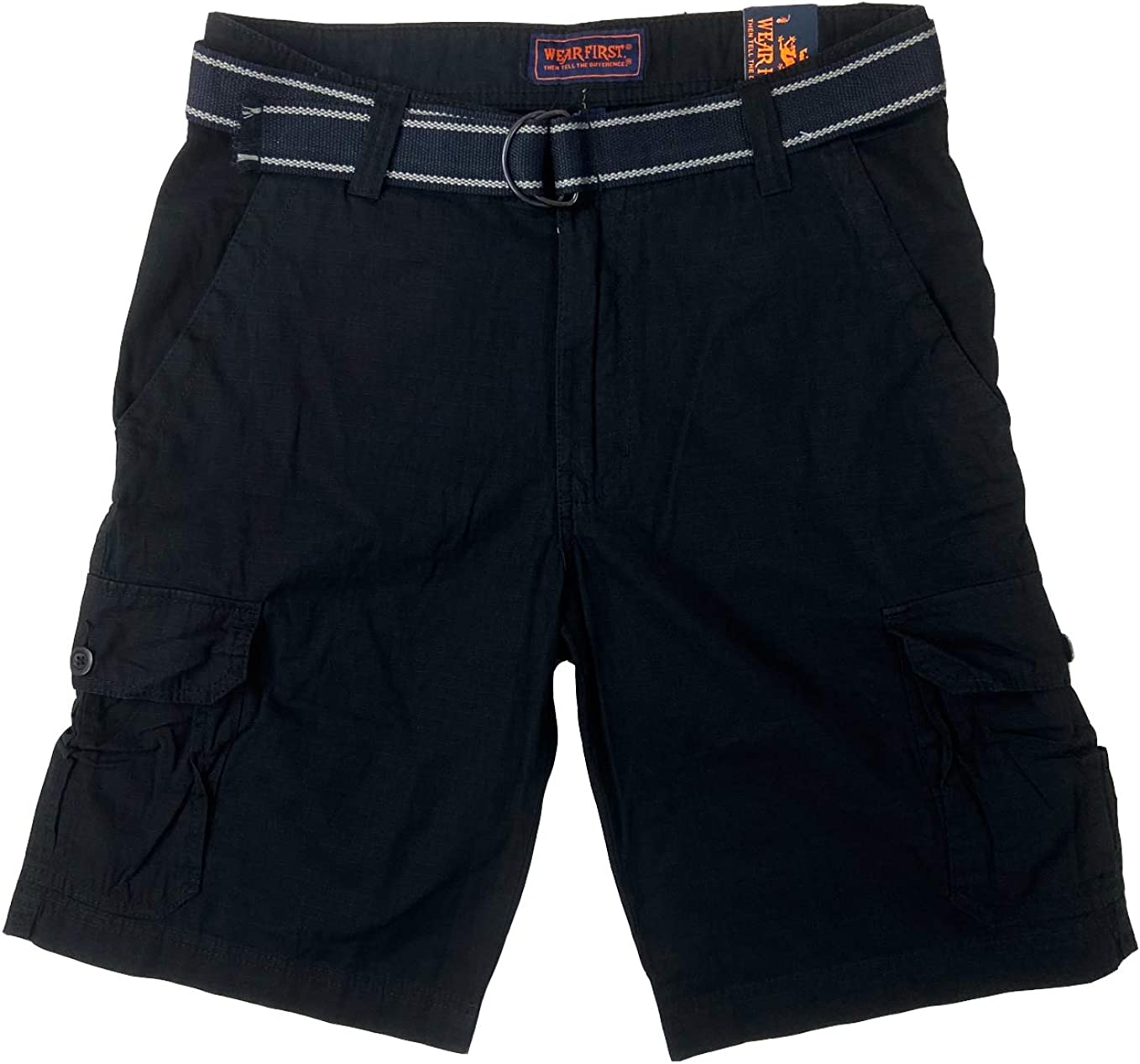 Wearfirst Men's Caution Ripstop Belted Cargo Shorts