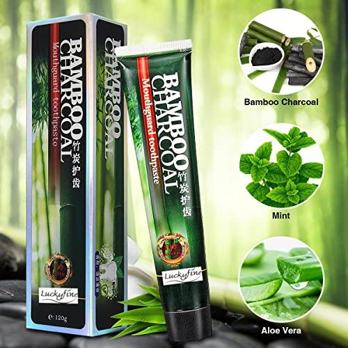 LuckyFine Bamboo Charcoal Whitening Zahncreme, (1 x 120g)