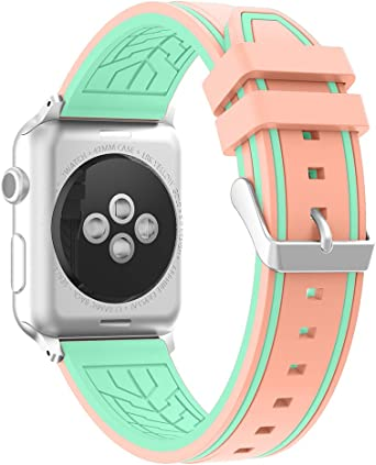 Fmway Repuesto de Correa Reloj de Silicona para Apple Watch Series 4 42mm, Apple Watch Series 3/2/1 42mm, Hombre y Mujer (Apple Watch Series 4, Verde + Rosa): Amazon.es: Relojes