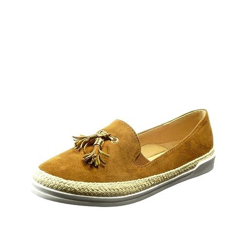 Angkorly - Zapatillas Moda Alpargatas Slip-on Mujer Nodo Fleco Dorado Talón tacón Plano 2.5 CM - Camel FC-02 T 39: Amazon.es: Zapatos y complementos