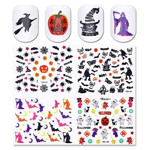 BORN PRETTY 24 Sheets Nail Art 3D Sticker Halloween Owl Skull Witch Pumpkin Zombies Manicure Adhesive Transfer (Halloween 3d Nails)