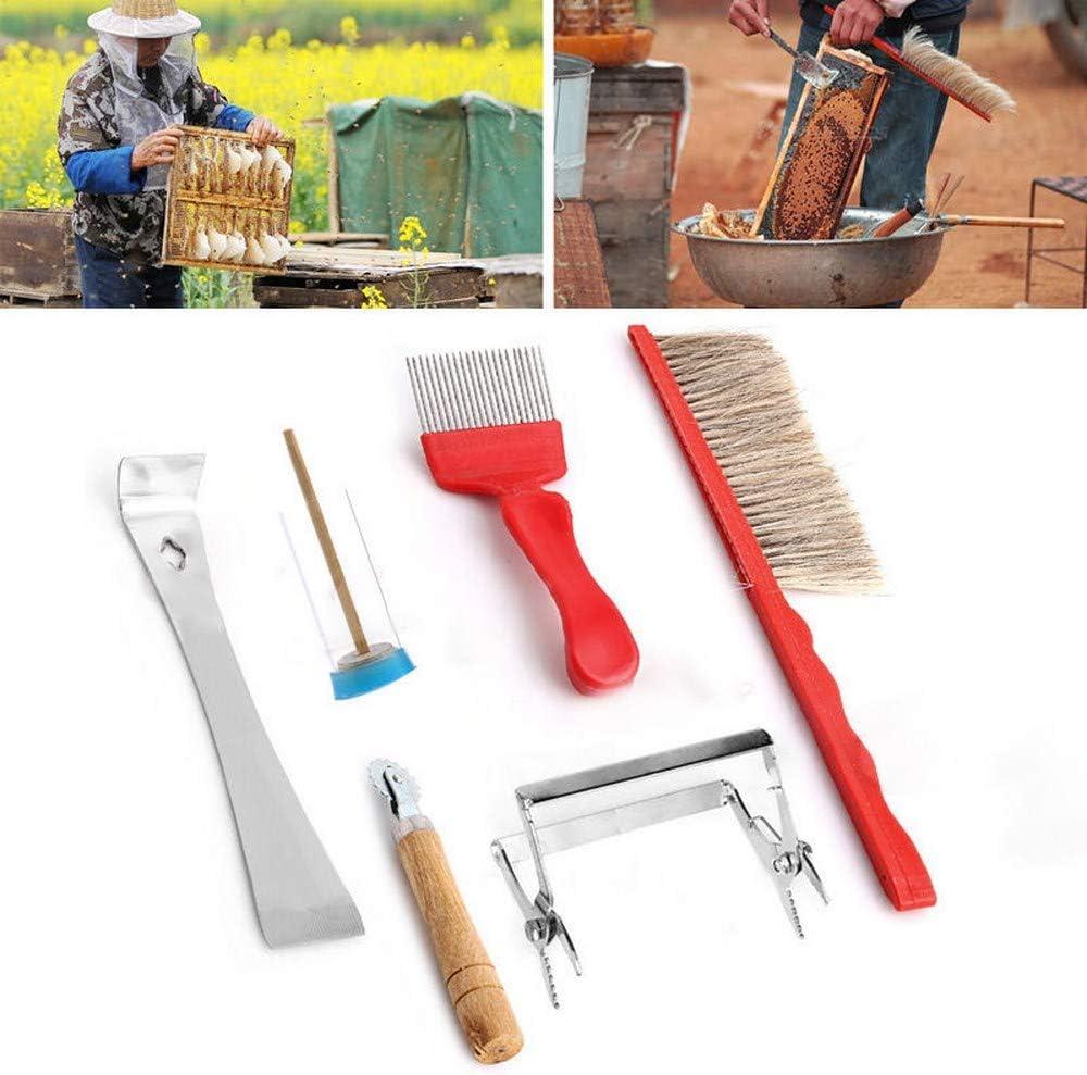 7Pcs Kit Beekeeping Equipment Tool Bee Brush Catcher Fork Cage Queen Hi NOL