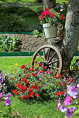 Gardenised Decorative Antique Red Wagon Garden Wheel – 42