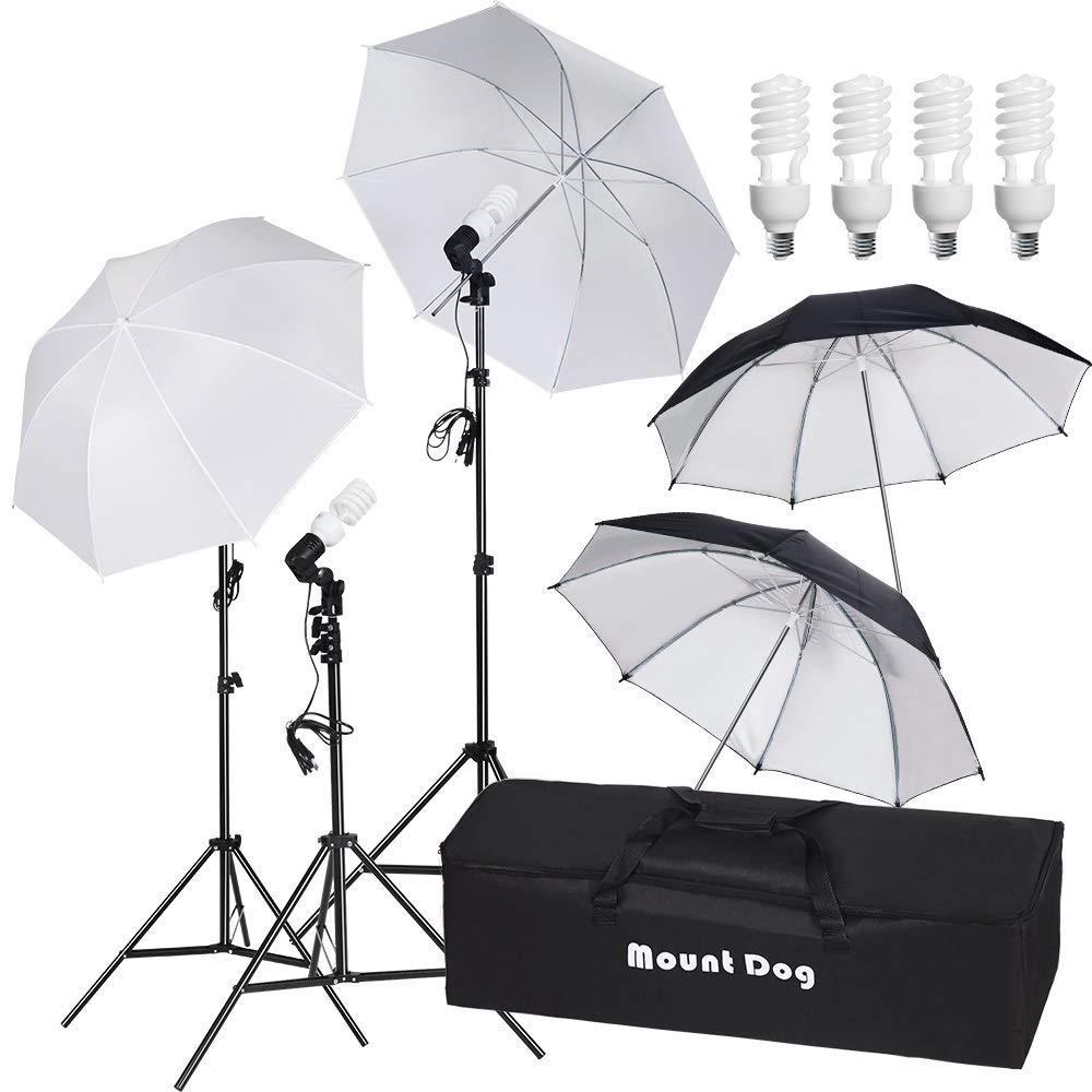 MOUNTDOG 800W Photography Umbrella Continuous Lighting Kit Photo Portrait Studio Day Light Umbrella Reflector Lights for Camera Shooting by MOUNTDOG