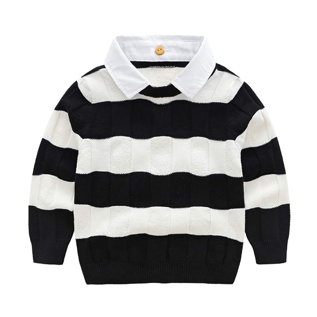 Kids Knitwear Boys Long Sleeve Sweater Baby Stripes Pullover Shirt Cotton Tops 12-18 Months