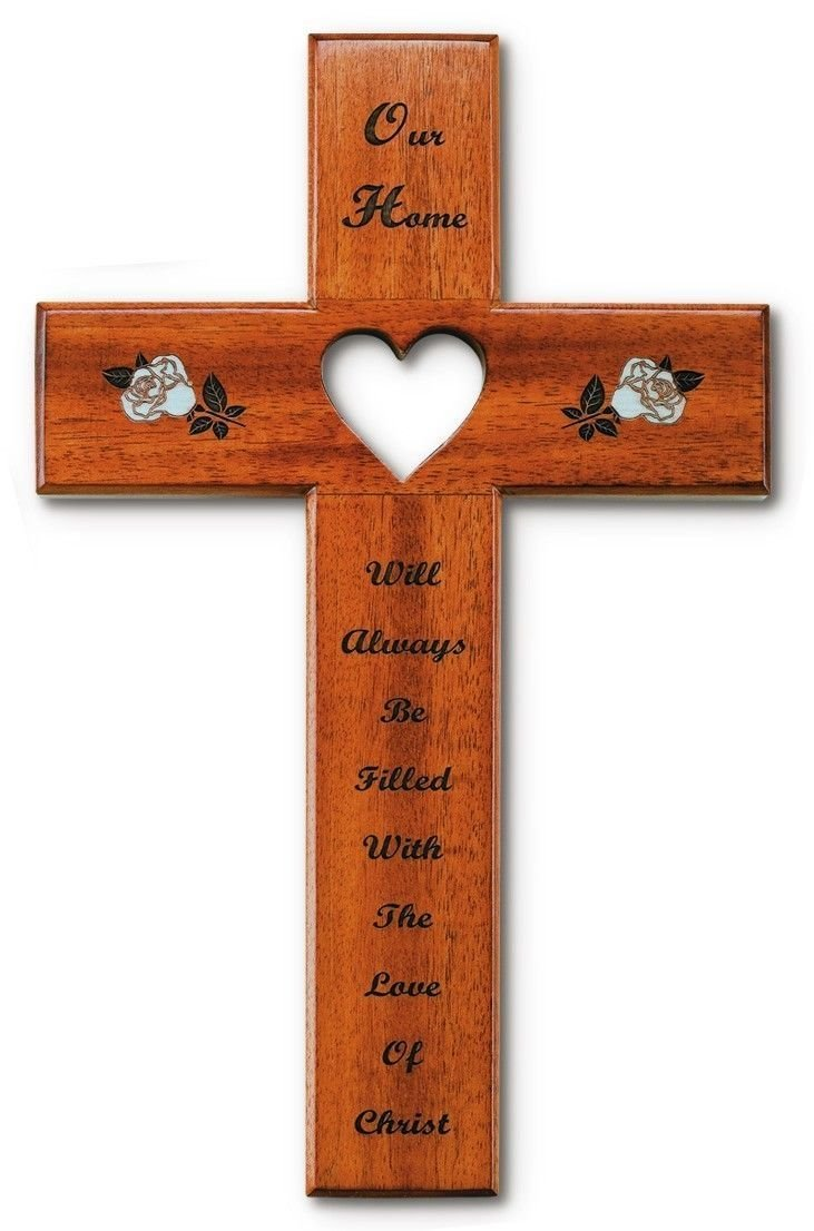 12 Mahogany Wood Love Open Heart Our Home Wall with Flowers Cross