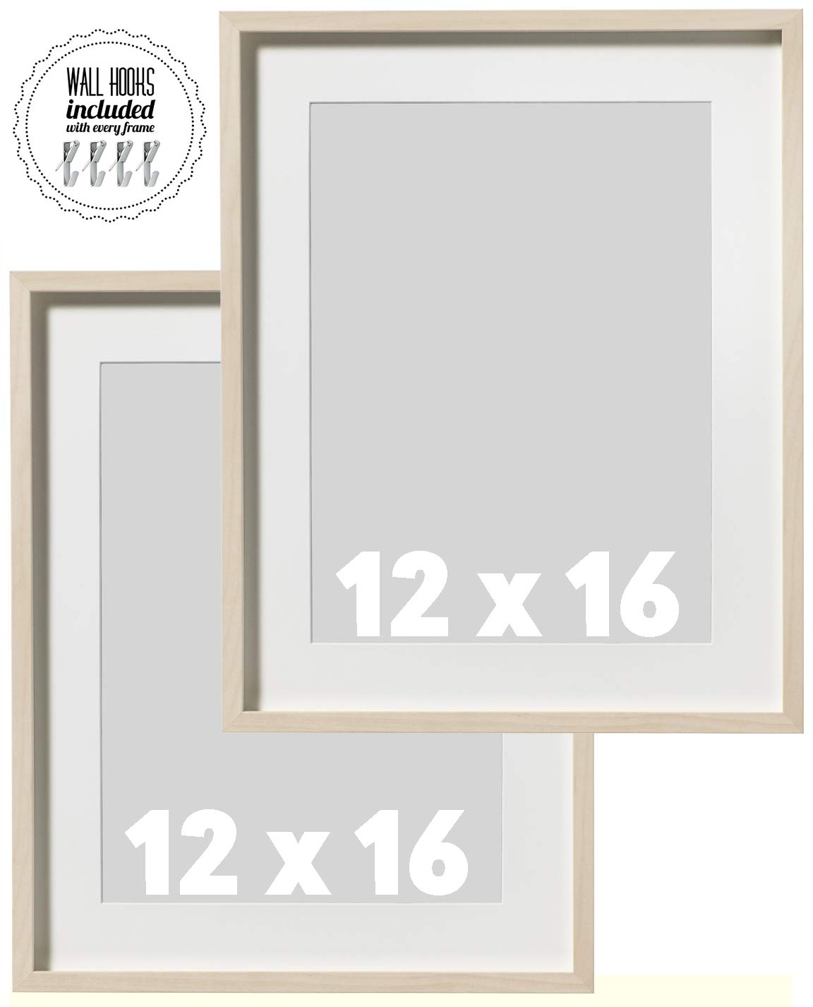 IKEA Wall Picture Frame Natural Birch Wood Color - 12 x 16 inches - 12x16 Picture Frames Wall Decor | Family Portrait - Includes 30lb Metal Wall Hang Fixtures - Natural Brown Wood''Hovsta''