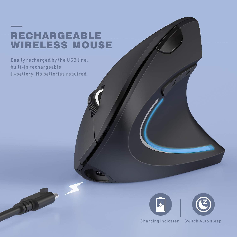 MV09F Ergonomic Wireless Mouse Jelly Comb Rechargeable 2.4GHz Wireless Ergonomic Vertical Mouse Optical Mice with Adjustable DPI 1000//1600//2400