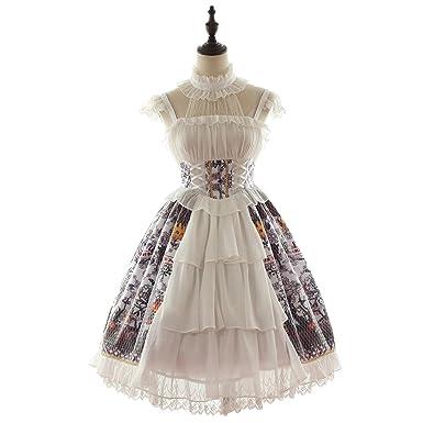 a076eaf7268 Women s Doris Night Sweet Lolita Dress Evil Pumpkin Printing Halter Strap  Lace Short Sleeve Multilayers (