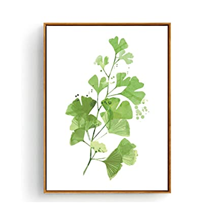 Hepix Canvas Wall Art Ginkgo Leaves Office Wall Decor Green Plants Dinning Room Wall Painting For Modern Home Decorations Stretched And Framed Ready