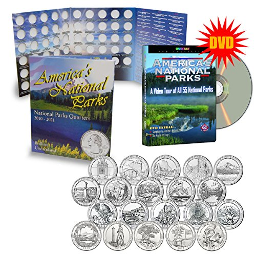 2010-2013 National Park Quarters Complete Date Set, First 20 America The Beautiful Coins with Deluxe Color Folder and FREE DVD