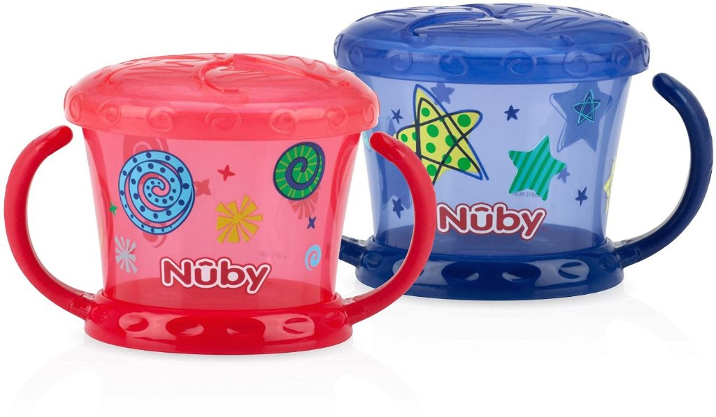 Nuby 1997422 Printed Snack Keepers44; Blue & Red - Pack of 2 - Case of 12
