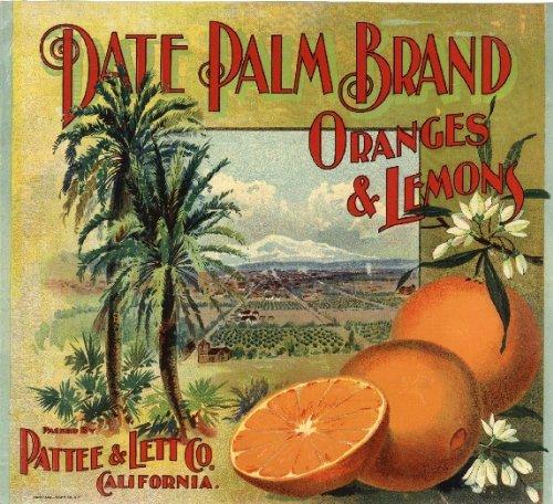 Redlands, SAN Bernardino County California Date Palm Brand Oranges and Lemons Citrus Fruit Crate Label Art Print