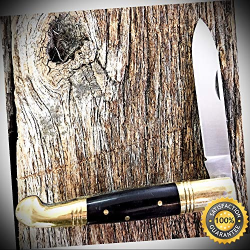 Old Fashion Pocket Knife 5'' Closed BLACK BONE Handles 202884-BK - Outdoor For Camping Hunting Cosplay