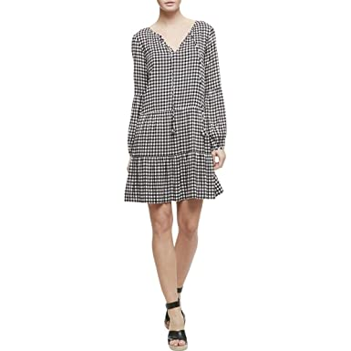 a89e38c3647 Sanctuary Womens Britt Gingham Tie-Front Casual Dress B W S Black White at  Amazon Women s Clothing store