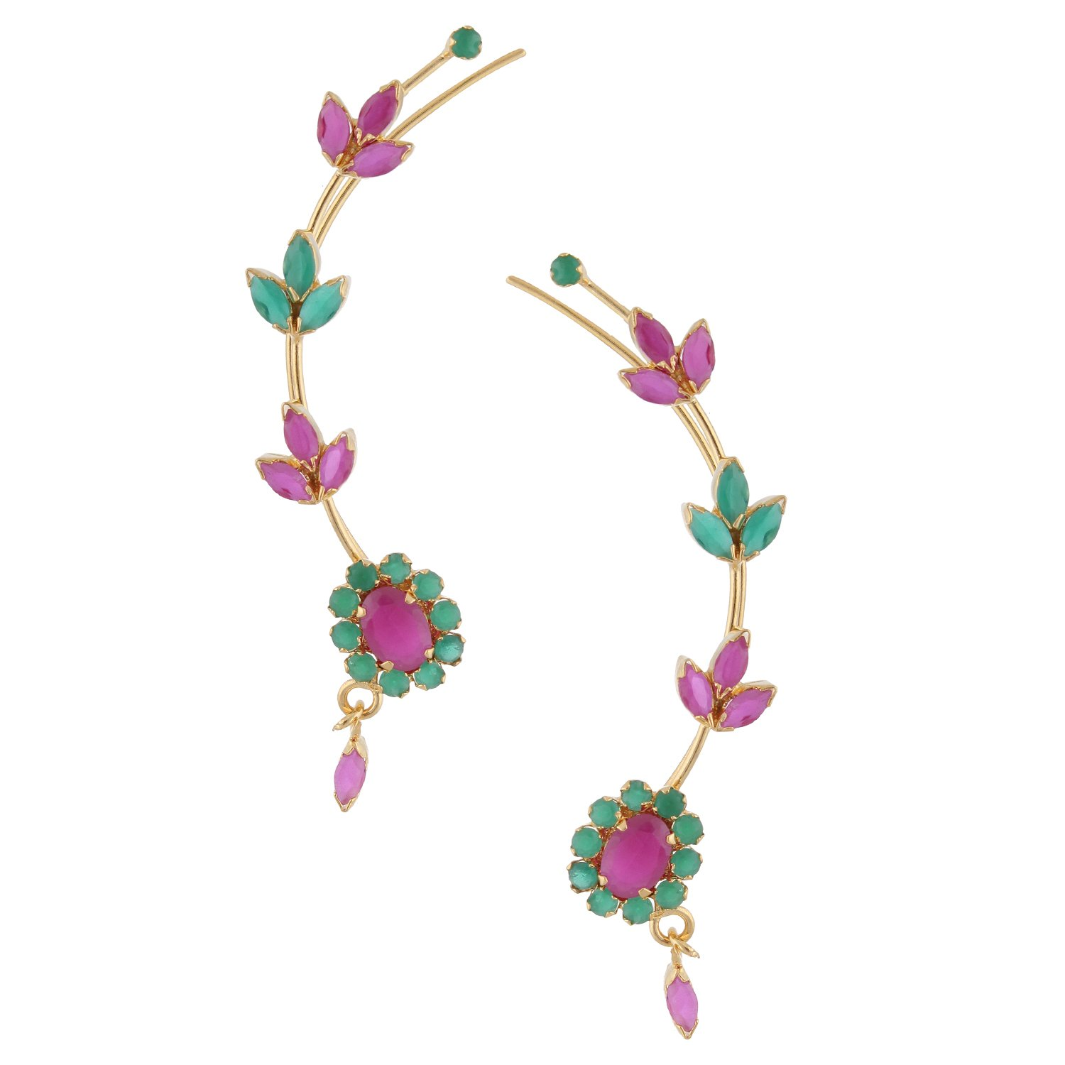Efulgenz Ear cuffs Cubic Zirconia Halo Flower Leaf Climber Crawler Cartilage Clip on Faux Ruby Emerald Cuff Wrap Earrings