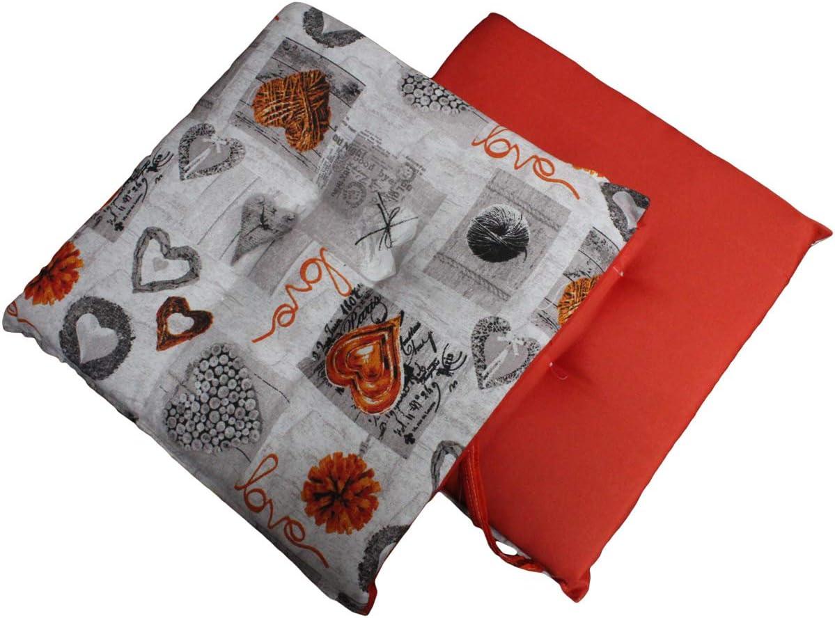 Russo Tessuti 6 Cuscini Sedie Cucina Coprisedia Imbottiti con Laccetti Cuore Love Vari Colori Arancione