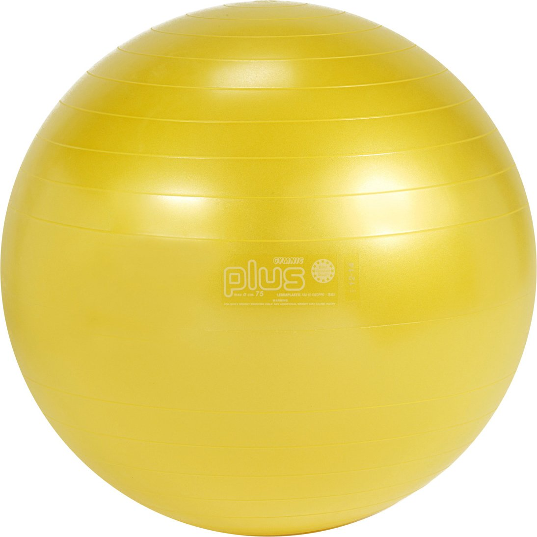 Gymnic Classic Plus Burst-Resistant Exercise Ball, Yellow (75 cm)