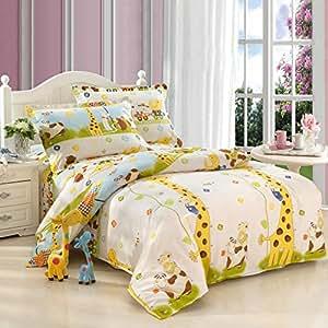 Amazon Com Cliab Giraffe Bedding Twin Animal Theme