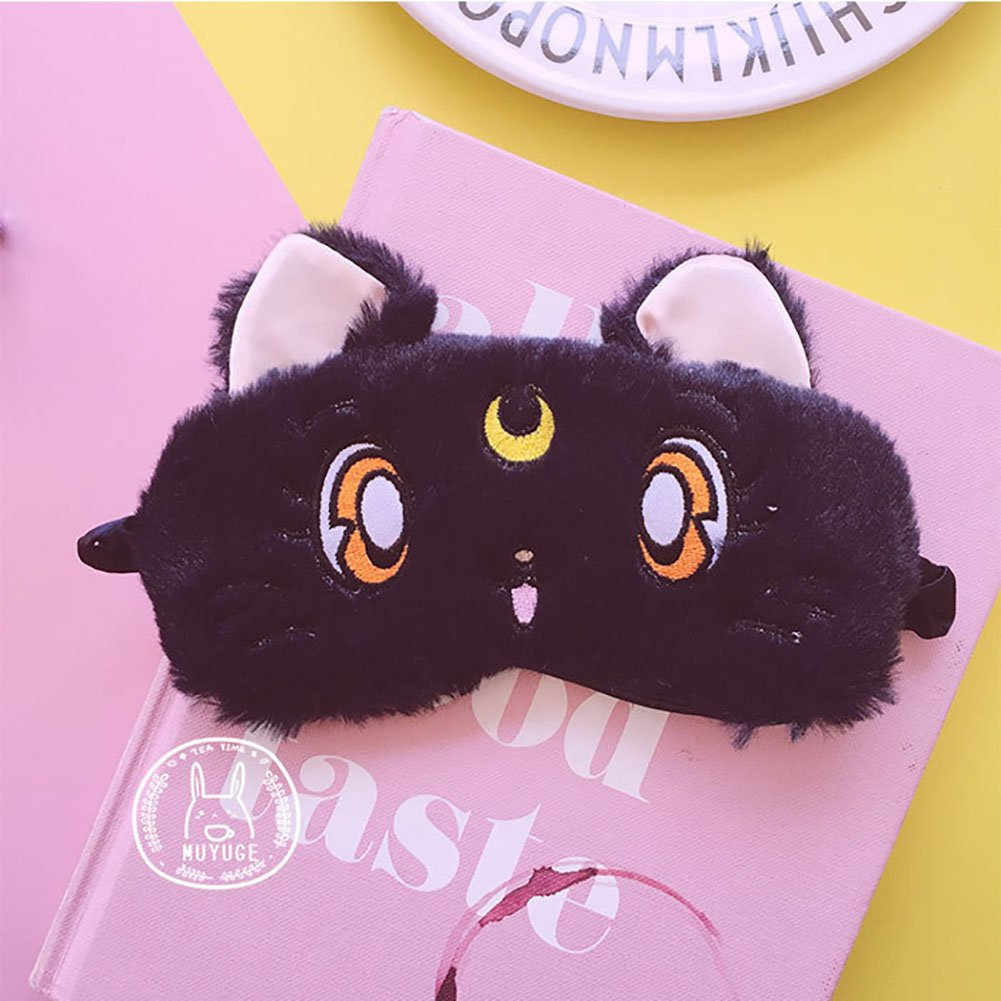 Fluffy Cat Face Sleep Eye Mask Moon Decor Eye Shade Blindfold for Home Travel Rest by Funbase (Image #2)