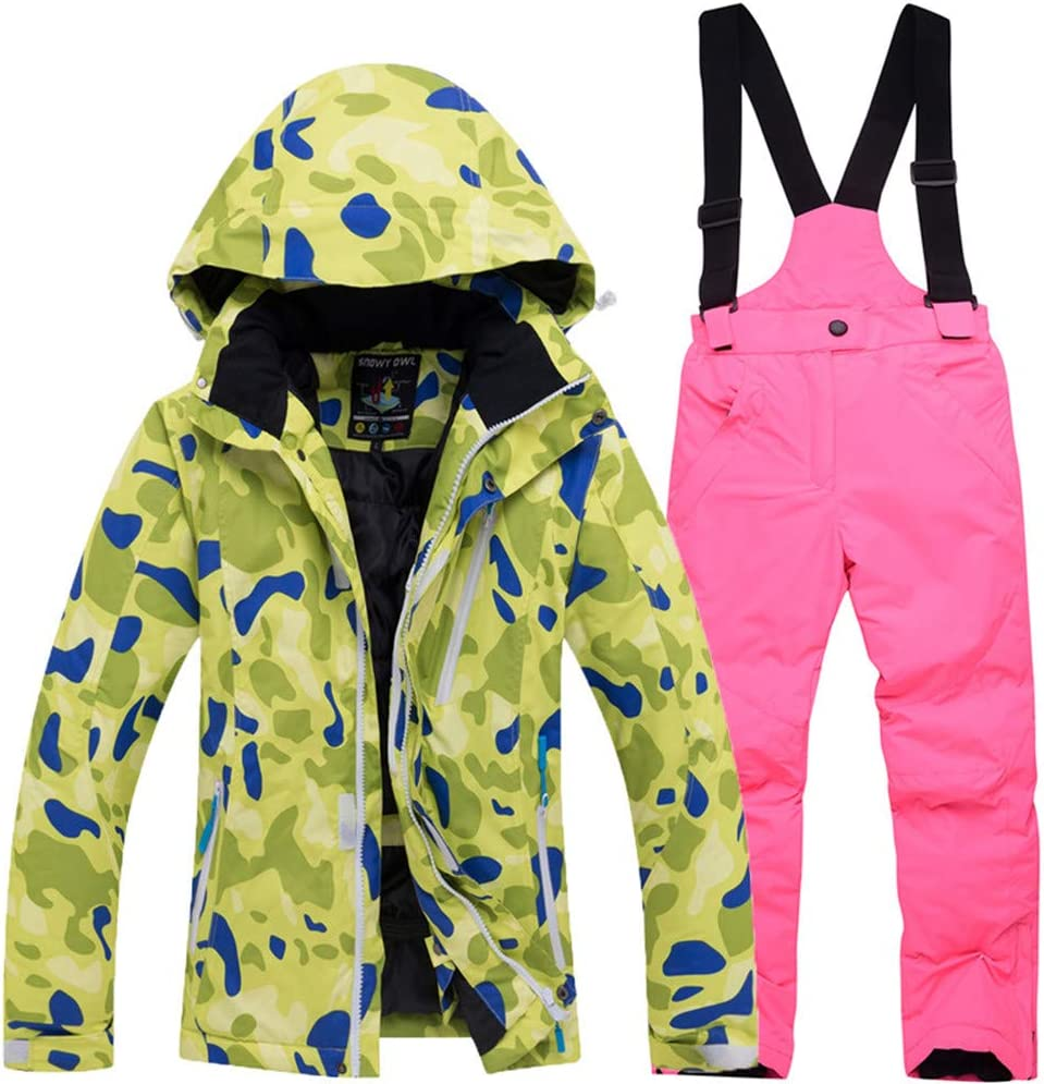 スキーウェア 子供のスキーウェアセットの女の子防風防水厚く暖かい屋外ジャケット綿服男の子 耐性ジャケット (色 : 緑 top+bright ピンク, サイズ : M) 緑 top+bright ピンク Medium