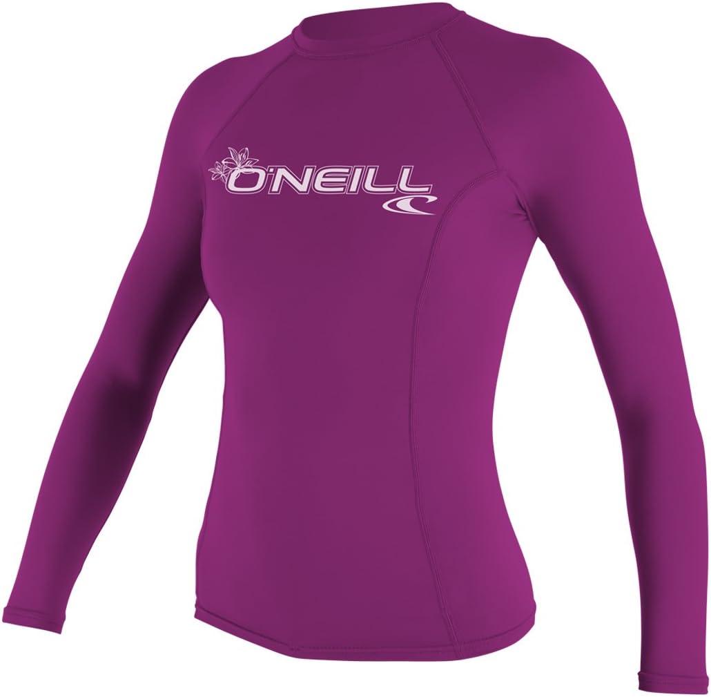 ONeill Womens Basic Skins Long Sleeve Crew Quick Dry Lightweight Rash Vest Top Fox Pink Performance Fit