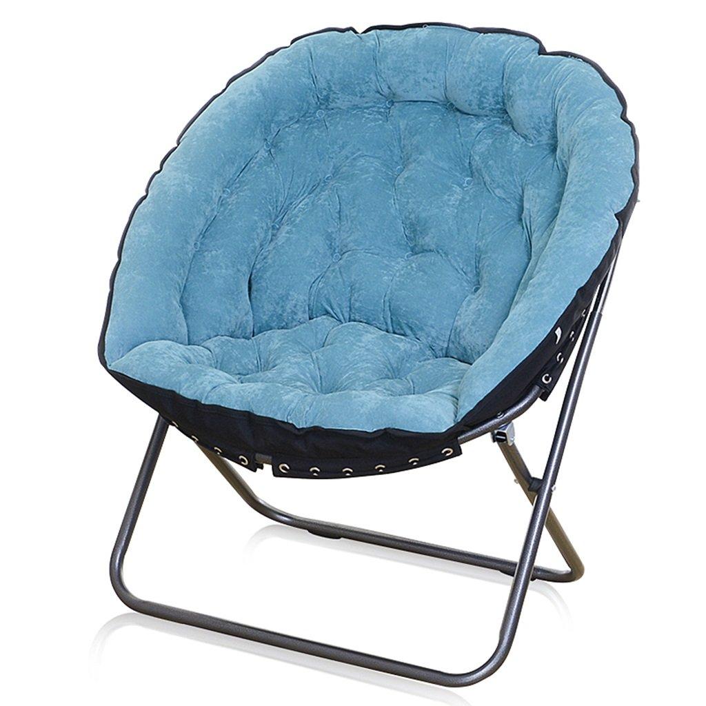柔らかく心地よい深めの折りたたみフォックスクラブチェア、金属、完璧なベッドルームリビングルームのドミトリーホーム、100キロ (色 : 青) B07DMXK92W 青 青