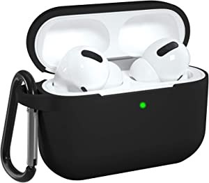 DGege Silicone Case Cover Compatible with Apple AirPods Pro, Protective Case with Carabiner for Airpods 3 (Front LED Visible), Black