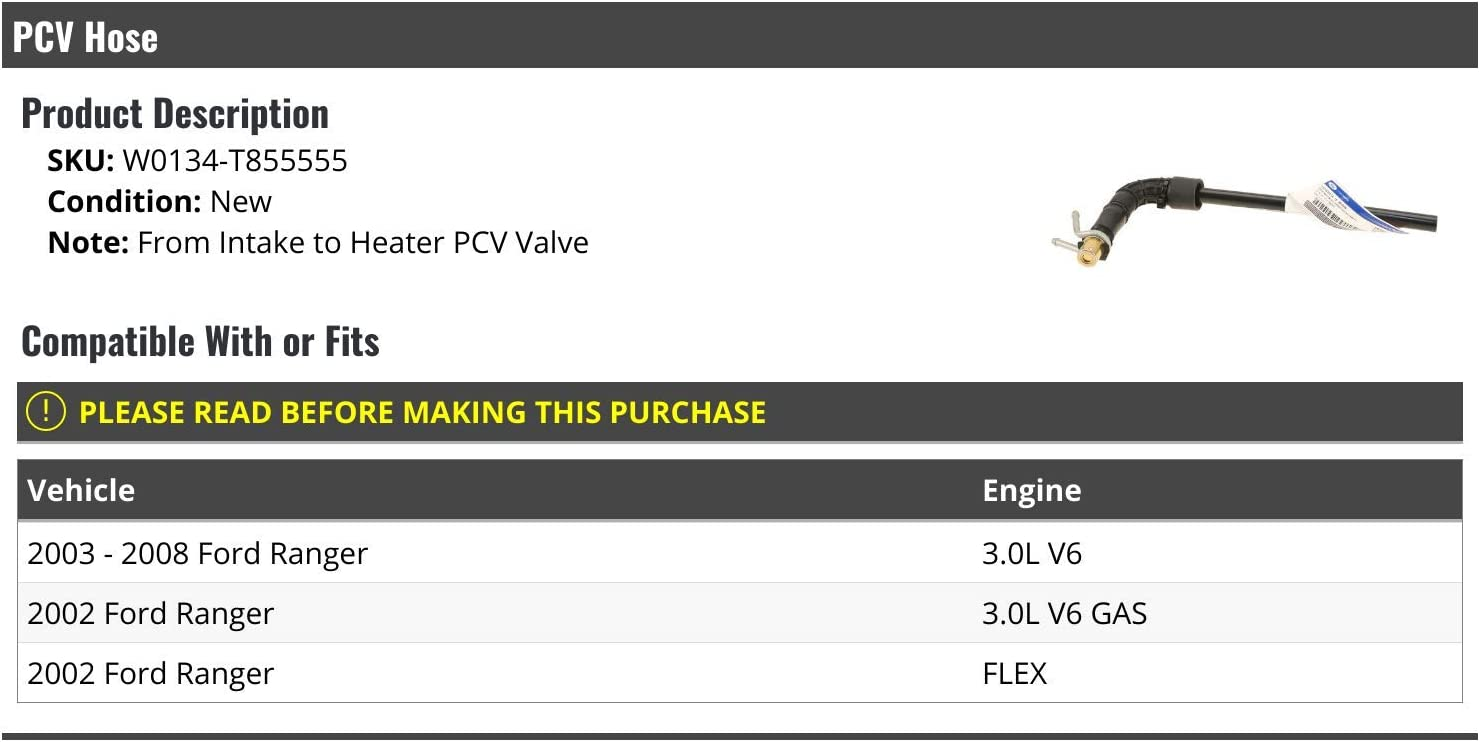 Compatible with 2002-2008 Ford Ranger From Intake to Heater PCV Valve PCV Hose