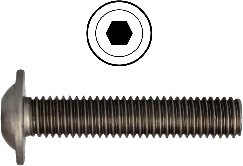 Linsenkopfschrauben M6 X 14 ISO 7380 mit Flansch u - V2A Linsenschrauben mit Bund Rundkopfschrauben Flachkopfschrauben Flanschschrauben ISK Edelstahl A2 Innensechskant 100 St/ück