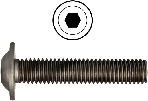 - ISO 7380-2 TX SC7380-2TX Flanschschrauben Linsenkopfschrauben mit Flansch und Innensechsrund Vollgewinde 20 St/ück Flachkopfschrauben ISR rostfreier Edelstahl A2 V2A - M6x16 -