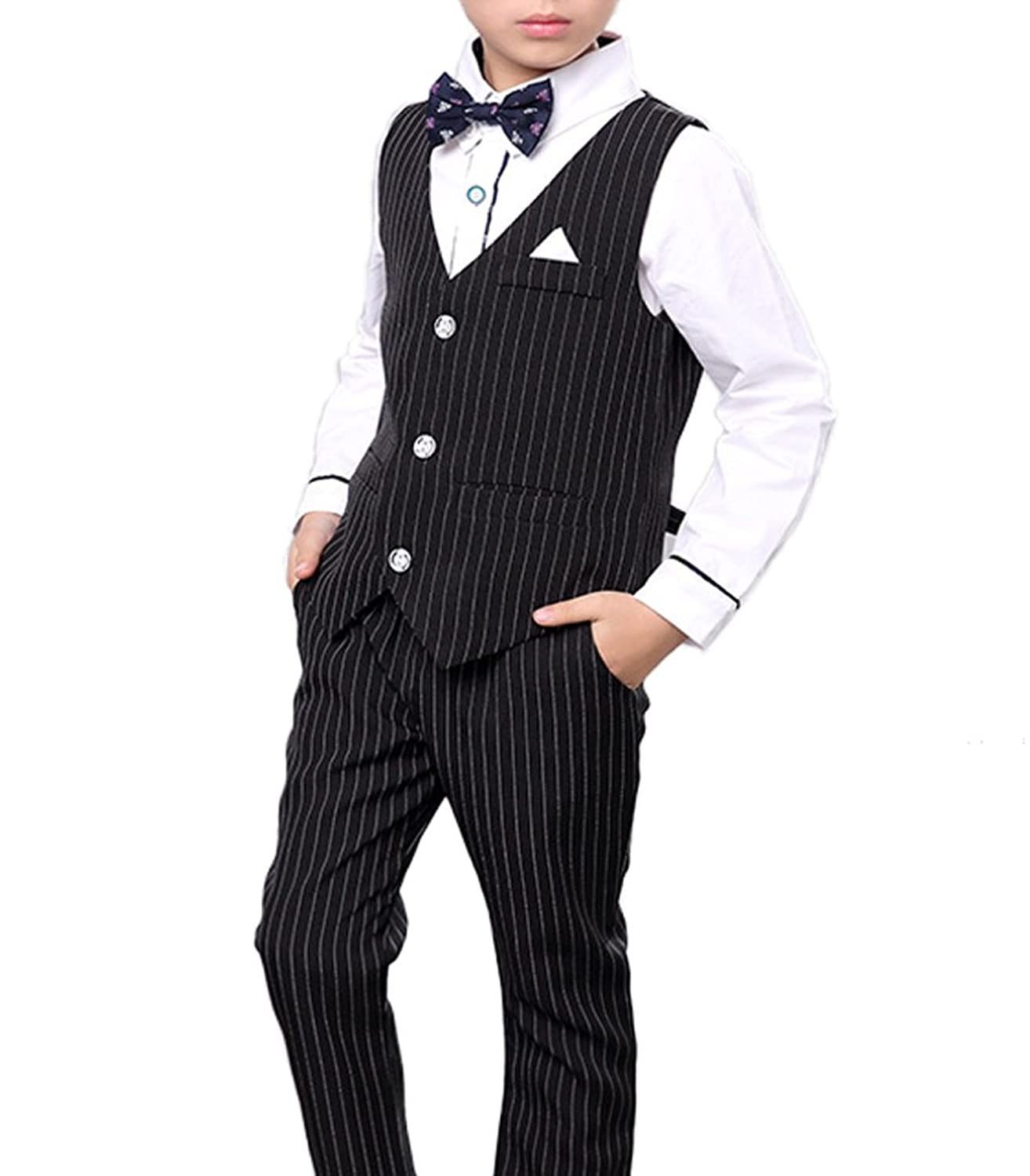 1940s Children's Clothing: Girls, Boys, Baby, Toddler Boys Pinstripe Vest Set Vest + Pants + Shirt 3 Pieces Black & Blue 2 Colors $29.99 AT vintagedancer.com