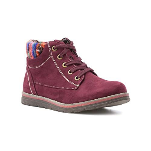 02b92c9f1823f Lotus Womens Red Knitted Lace Up Ankle Boot - Size 7 UK - Red ...
