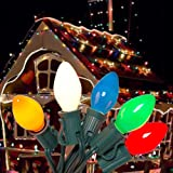 25FT Outdoor C7 Multicolored Ceramic Christmas Lights String Set - Indoor/Outdoor Christmas Light String - Christmas…