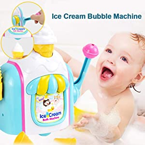 TODAYTOP Baby Bath Toys Bubble Machine Ice Cream Bubble Maker Foam Play Machine Foam Factory Bathtub Toy for Baby Kids Shower Play in The Bath Or Pool