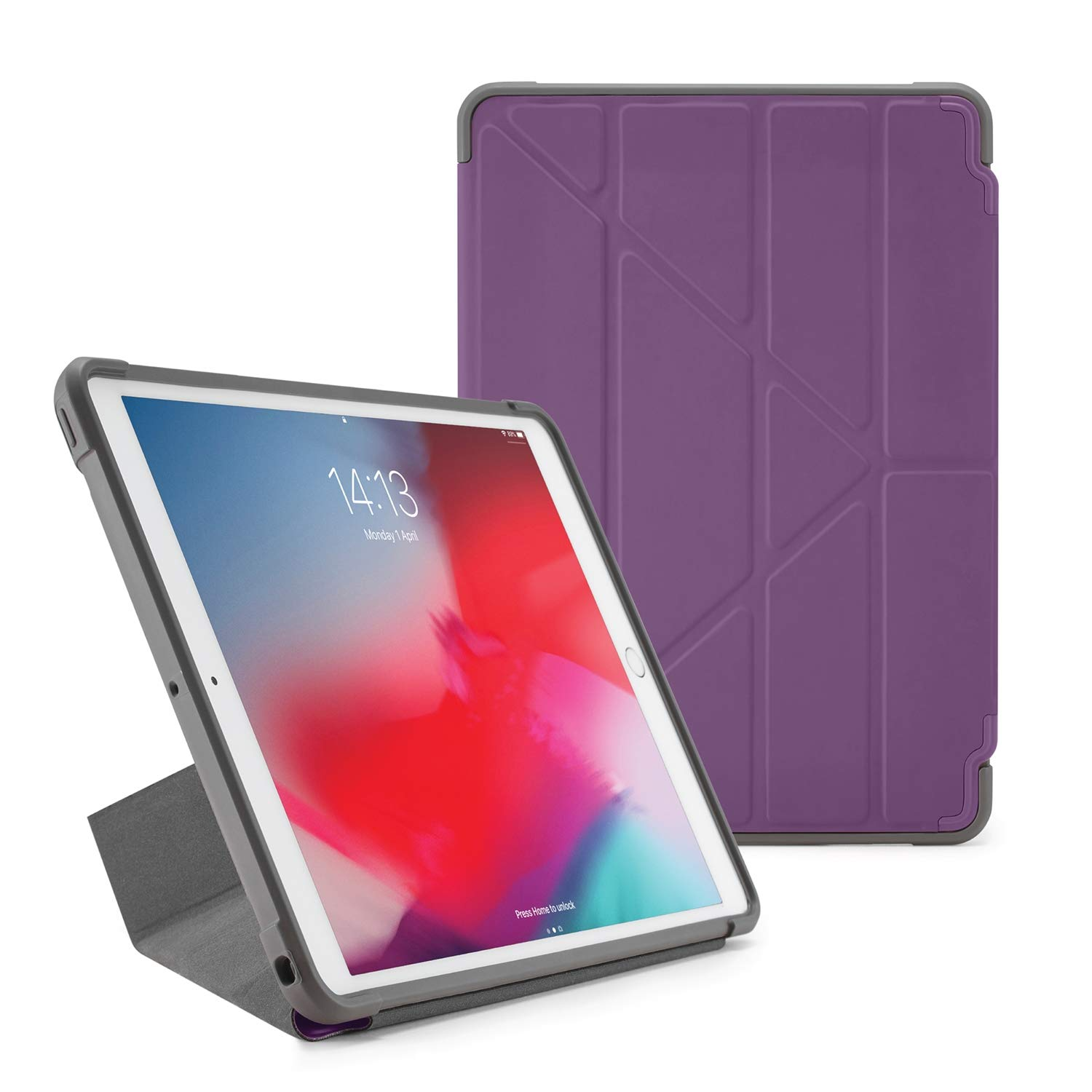 PIPETTO Origami Shield iPad case Air 10.5 (2019/2017) | Rugged Shockproof with 5 in 1 Stand and auto Sleep Wake Function Purple