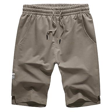 Hombres Pantalones Cortos Deporte Casuales Color sólido Pantalón ...