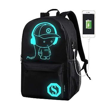 Mochilas Escolares para niños, Mochila Luminosa de Lona Anime con Cable USB para Adolescentes niñas (Negro): Amazon.es: Equipaje