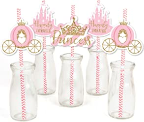 Big Dot of Happiness Little Princess Crown - Paper Straw Decor - Pink and Gold Princess Baby Shower or Birthday Party Striped Decorative Straws - Set of 24