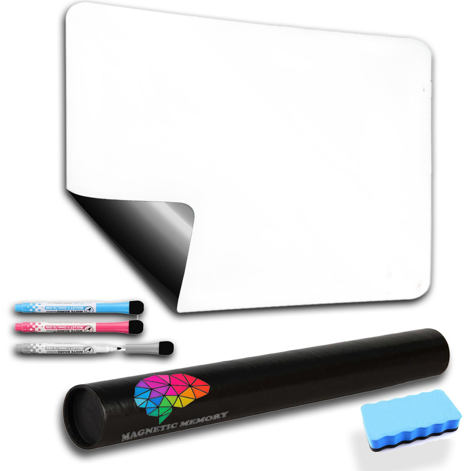"Magnetic Dry Erase Whiteboard Sheet for Refrigerator, 17x11"", The Perfect Planner and Organizer, Accessories Included: Dry Erase Markers and Big Eraser,– by Magnetic Memory."