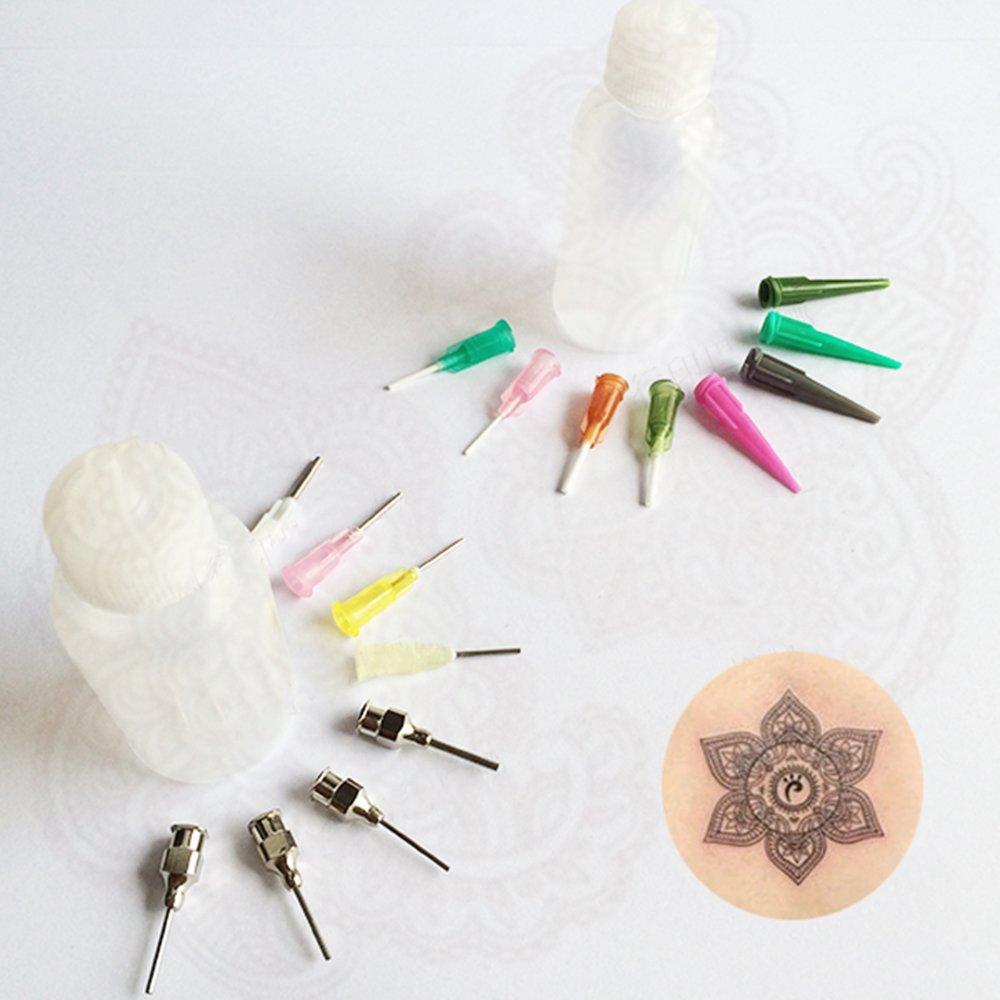 GSN 4 Jagua HENNA Applicator bottles Kit for Tattoo, 4 pc Tattoo Empty Bottle with 16 pcs Needles for Henna, Jagua Tattoo Kits - Qty 4 & 16 tips
