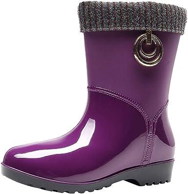 Mxjeeio- Botas de Agua Mujer Invierno Zapatos Calentar Plataforma Lluvia Impermeable Botines Goma Planos Antideslizante Tacón Ancho 3cm Jardín Trabajo Azul Beige Púrpura Rojo 37-41 EU: Amazon.es: Ropa y accesorios