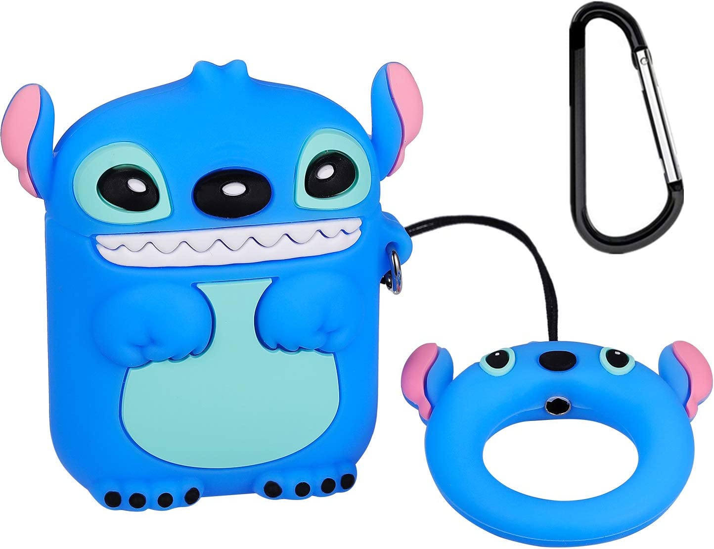 Logee 3D Stitch Case for Airpods 1&2,Cute Character Silicone 3D Funny Cartoon Airpod Cover,Soft Kawaii Fun Cool Animal Skin Kits with Carabiner,Unique Cases for Girls Kids Teens Women Air pods