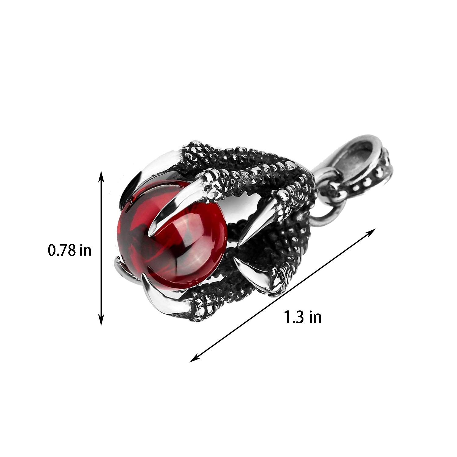 YouU Punk Rock Stainless Steel Dragon Claw Pendant Crystal Ball Necklace with Chain,Red