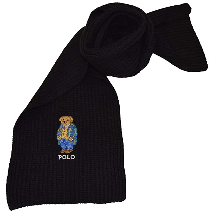 42541a8d973 ... closeout polo ralph lauren mens polo bear scarf black sky os at amazon  mens clothing store ...