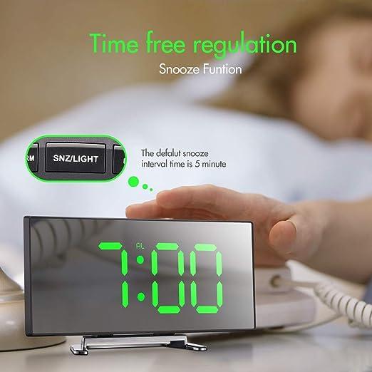 Digital-Wecker 7-Zoll-Curved Dimmbare LED-Schirm-Digital-Uhr für Kinder Sc G8J4