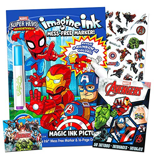 Marvel Super Hero Adventures Imagine Ink Coloring Book Activity Set ~ No Mess Magic Ink Activity Book with Avengers Stickers and Temporary Tattoos (Superhero Coloring Books)