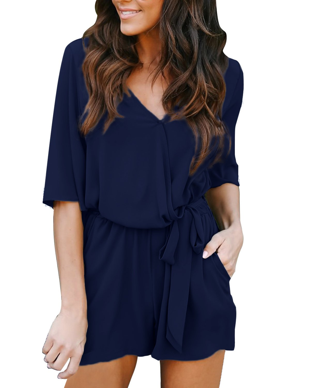 Auxo Women Short Sleeve Romper Summer V Neck Cute Playsuit One Piece Jumpsuit Jumper E-Navy 2XL