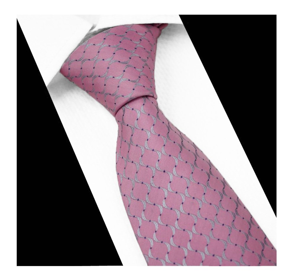 Men's Pink Grey Wave Stripe Silk Ties Jacquard Woven Daily Meeting Dress Necktie