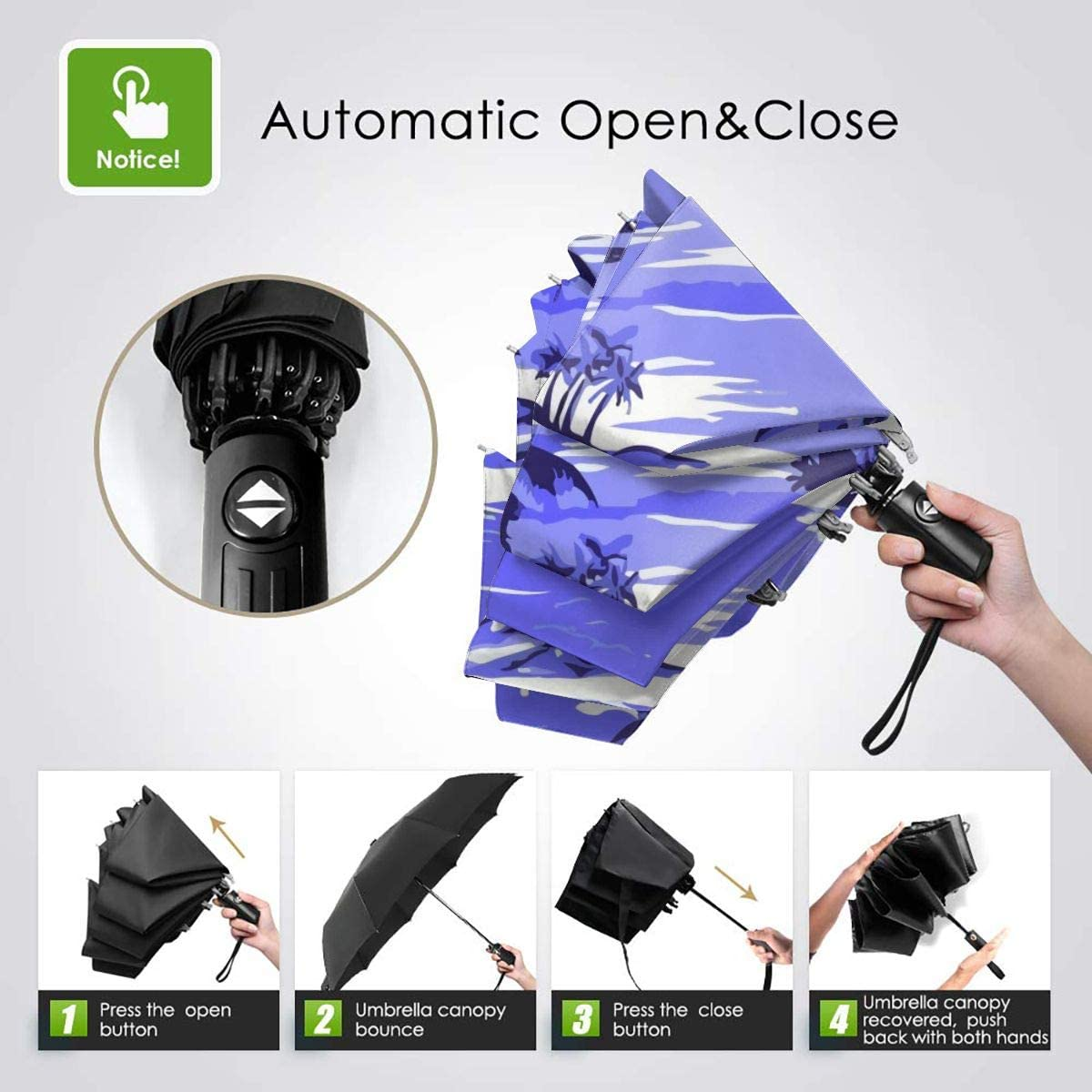 Napili Bay Scenic Hawaiian Automatic Tri-fold Umbrella Stylish Windproof Anti UV Rain//Sun Travel Umbrella Light Weight.